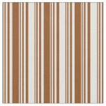 [ Thumbnail: Brown and Light Cyan Colored Striped Pattern Fabric ]