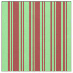[ Thumbnail: Brown and Light Green Pattern of Stripes Fabric ]