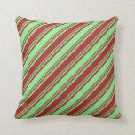 [ Thumbnail: Brown and Light Green Pattern of Stripes Pillow ]