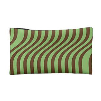 Brown and Light Green Stripes Makeup Bag