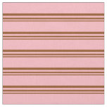 [ Thumbnail: Brown and Light Pink Lined/Striped Pattern Fabric ]