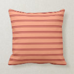 [ Thumbnail: Brown and Light Salmon Stripes/Lines Pattern Throw Pillow ]