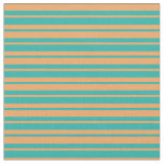 [ Thumbnail: Brown and Light Sea Green Stripes Pattern Fabric ]