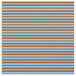 [ Thumbnail: Brown and Light Sky Blue Colored Lined Pattern Fabric ]