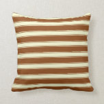 [ Thumbnail: Brown and Light Yellow Lines Pattern Throw Pillow ]