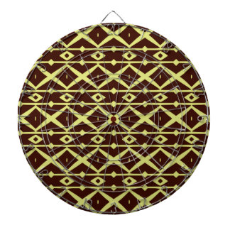 Brown and Light Yellow Modern Trellis Pattern Dart Board