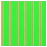 [ Thumbnail: Brown and Lime Colored Lined Pattern Fabric ]