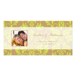 Brown and Lime Green Damask Photo Announcement