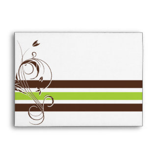 Brown and Lime Green Floral Bar Envelopes