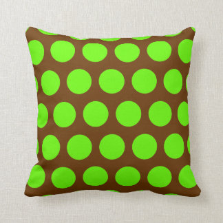 Brown and Lime Green Polka Dots Throw Pillow