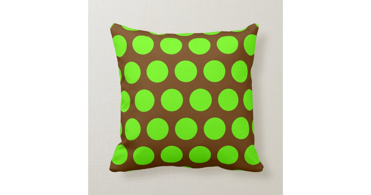Throw Pillows Green And Brown : Brown and Lime Green Polka Dots Throw Pillow Zazzle