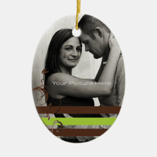 Brown and Lime Photo Engagement Ceramic Ornament