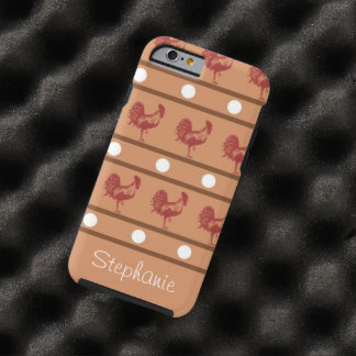 Brown and Maroon Roosters, Polka Dots and Stripes Tough iPhone 6 Case