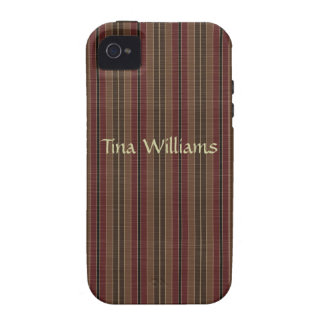 Brown and Maroon Stripes iPhone Case Case For The iPhone 4
