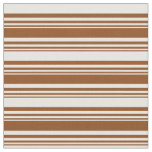 [ Thumbnail: Brown and Mint Cream Colored Lines Pattern Fabric ]