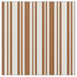 [ Thumbnail: Brown and Mint Cream Colored Striped Pattern Fabric ]