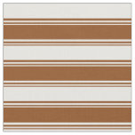 [ Thumbnail: Brown and Mint Cream Lines Fabric ]