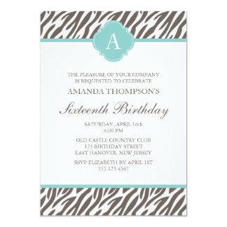 Brown and Mint Zebra Pattern Monogram 5x7 Paper Invitation Card