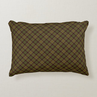 Brown and Moss Green Rustic Diagonal Fall Plaid Accent Pillow