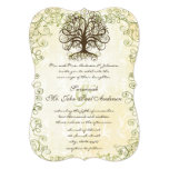 Brown and Moss Green Swirl Tree Vintage Damask 5x7 Paper Invitation Card