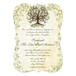 "Brown and Moss Green Swirl Tree Vintage Damask 5"" X 7"" Invitation Card"