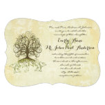 Brown and Moss Green Swirl Tree Vintage Damask Personalized Invites