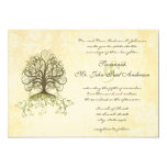 Brown and Moss Green Swirl Tree Vintage Damask Invite