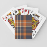 Brown and Navy Plaid Playing Cards