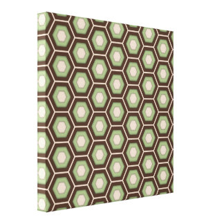 Brown and Olive Green Hex Tiled Canvas