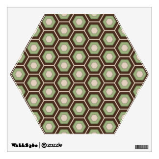 Brown and Olive Green Hex Tiled Wall Decal