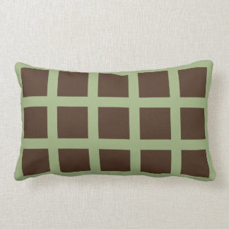 Brown and Olive Green Squares Reversible Pillow
