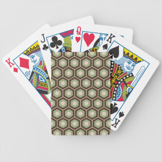 Brown and Olive Green Tiled Hex Playing Cards