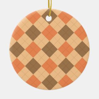 Brown and orange argyle pattern ceramic ornament