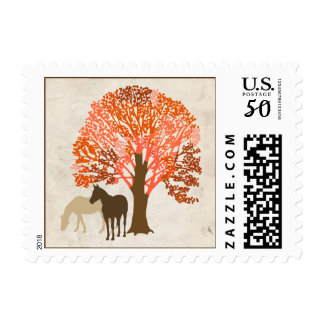 Brown and Orange Autumn Horses Postage