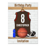 """Brown and Orange Basketball Jersey Birthday Party 5"""" X 7"""" Invitation Card"""