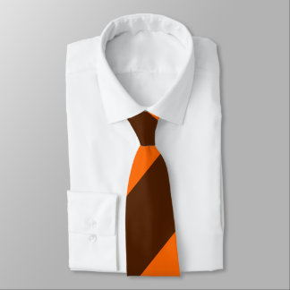 Brown and Orange Broad Regimental Stripe Tie