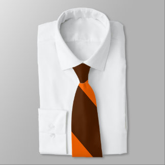 Brown and Orange Broad University Stripe Tie