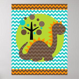 Brown and Orange Chevron Dragon Nursery Poster