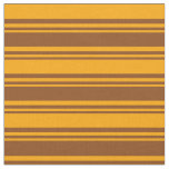 [ Thumbnail: Brown and Orange Colored Lines/Stripes Pattern Fabric ]