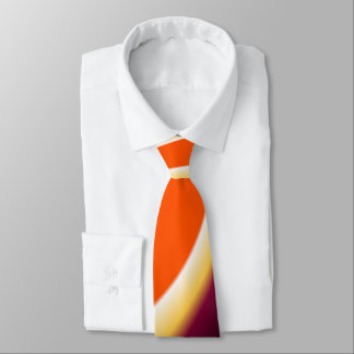Brown and Orange Curved Design Neck Tie