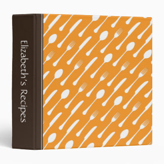 Brown and orange cutlery personalized recipe book 3 ring binders