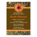 """Brown and Orange Daisy Bridal Shower Invitation 5"""" X 7"""" Invitation Card"""