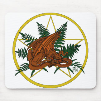 Brown and Orange Dragon With Fern and Pentacle Mousepad