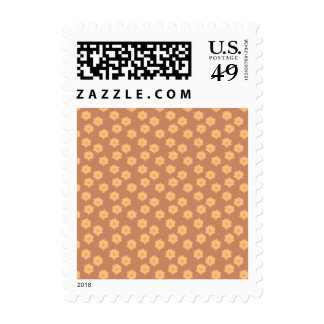Brown and Orange Floral Pattern. Stamp