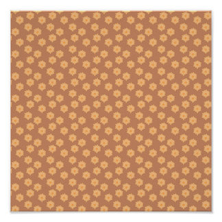 Brown and Orange Floral Pattern. Poster