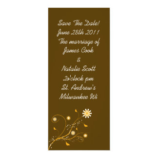 "Brown and Orange Floral ""Save the Date"" invite 4"" X 9.25"" Invitation Card"