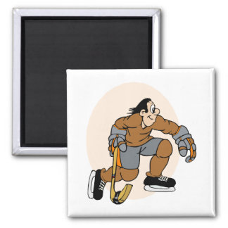 brown and orange hockey player magnet