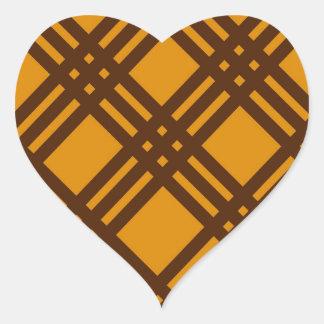 Brown and Orange Lattice Heart Sticker