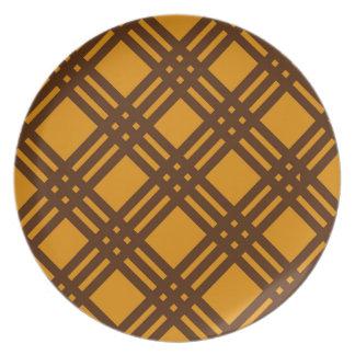 Brown and Orange Lattice Melamine Plate