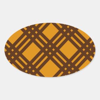 Brown and Orange Lattice Oval Sticker